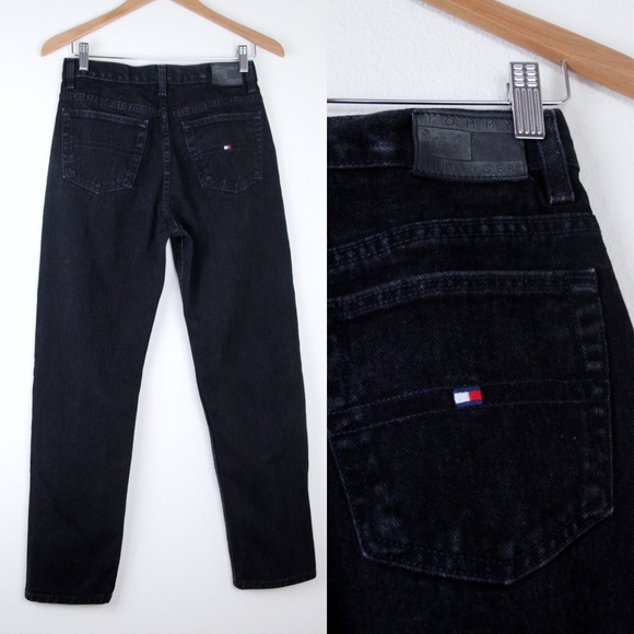 2da47395 VTG TOMMY HILFIGER 28x31 Black Denim Mom Jeans Y2K.  M_5af21fb5a44dbea5018a4b8f